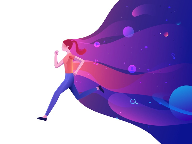 Run galaxy space runner run women girl illustration
