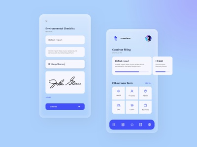 Makeen Transform - Forms App glassmorphism logo colourful branding minimal business cards signature forms clean ui ux app