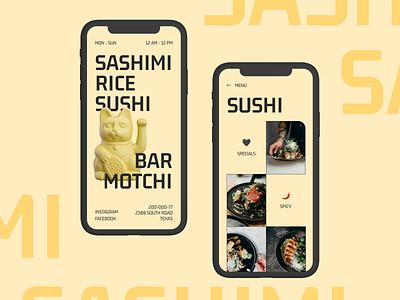 SUSHI & SASHIMI bar delivery japan food restaurant menu business mobile clean colorful branding website minimal ui ux