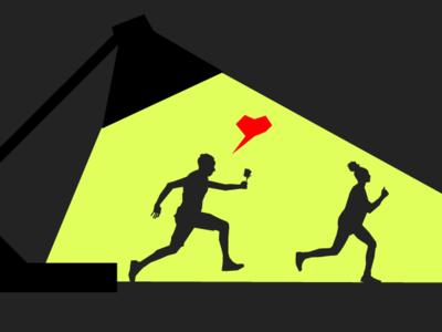 Run4Love vector graphic art illustration