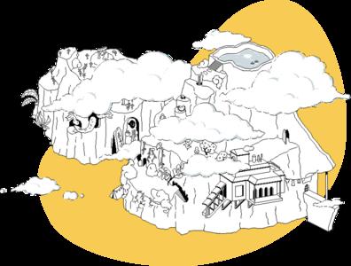 Hyperlink Cover landscape islands adventure fantasy pixel illustration