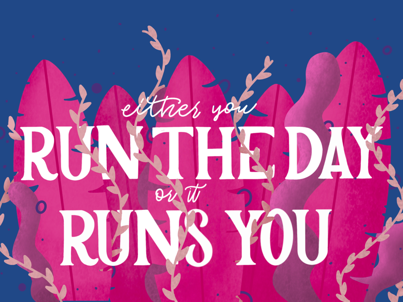 Run the Day quote apple drawing hand lettering procreate ipad illustration lettering