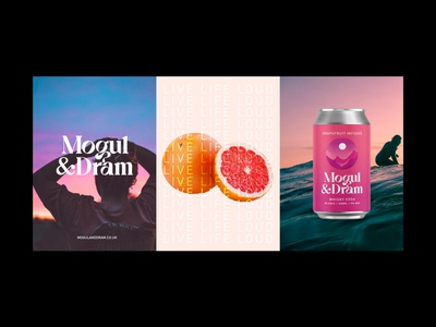 Mogul and Dram Hard Seltzer lifestyle logo can design drinks can packaging illustration typography branding design