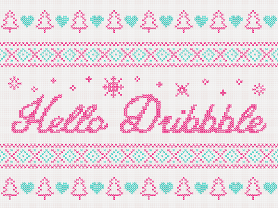 Dribbble Debut - Sweater Stitching snowflakes trees holidays debut sweater christmas