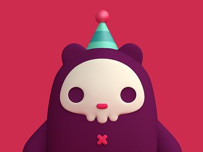 Imaginary Friends skull bear charater debut cute monster cgi c4d 3d