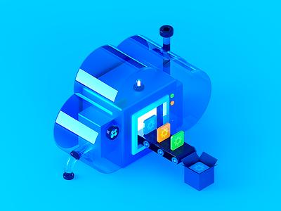 Salesforce Platform cloud high tech ui tech isometric illustration cute cgi c4d 3d