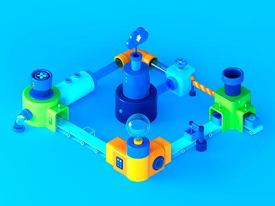 Salesforce Platform app cloud factory high tech ui tech isometric illustration cgi c4d 3d