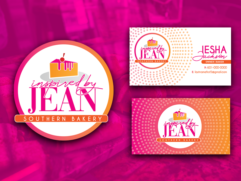 Inspired By Jean (Chosen Logo & Business Cards) dessert gradient orange pink bakery shop southern dots pie pastry bakery busines card business logo design white branding design logo typography illustration
