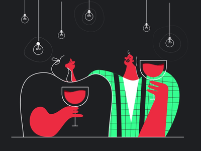 Love Story motiondesignschool speechbubble toast glass wine date women man character love