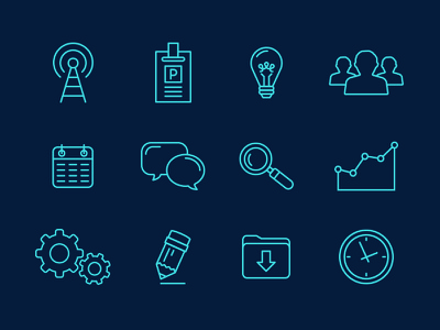 WIP Icons icons iconography people light bulb chart pencil download clock gears talk bubble press magnifying glass