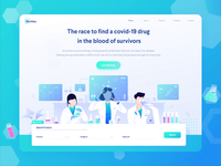 BioVax - Making Antibodies for Covid-19 Sufferers color flat web design header corona virus heath laboratory healthcare doctor scientists medicine antibodies covid-19 website ui illustration landing page animation