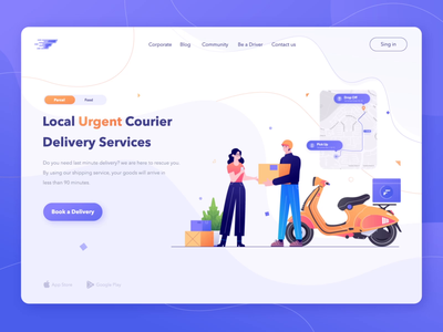 Fast First - Local Urgent Courier Delivery Services booking app flat branding logo header design courier delivery service landing page ux ui website gradient flat design illustration app design animation web design header