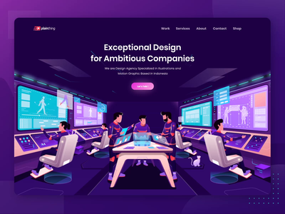 Plainthing Studio - Exceptional Design for Ambitious Companies animation studio design company futuristic astronaut app design studios animation header ux ui header design branding web design illustration gradient website landing page