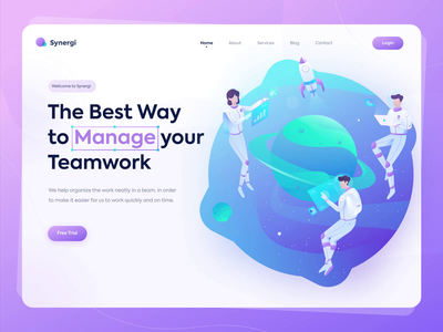 Synergi - Teamwork Management colorful branding logo galaxy planet astronaut task manager organize homepage teamwork management app ux ui website vector app illustration gradient landing page animation