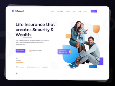 Lifegood - Your Life Insurance branding logo wealth security clean design happy family ui  ux homepage header healthy lifestyle security system health care life insurance app website gradient animation landing page