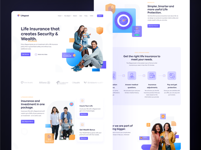 Lifegood - Landing page black purple clean ui ui ux lifegood investment life insurance healthy lifestyle family clean design security wealth web design branding app gradient website ui landing page