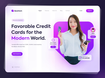 Quantum - Modern Payment System future web design motion ui ux purple header money bank transaction modern payment credit card payment branding app gradient website illustration ui landing page animation
