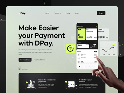 DPay. : Digital Bank Home Page Animations hero page product page 2d home page header fintech finance ux bank bank app digital payment cashless digital bank motion graphics app illustration website ui animation landing page