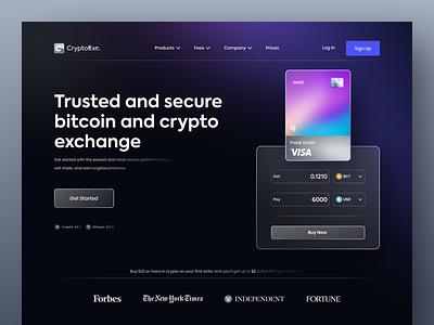 CryptoExc. - Cryptocurrency Exchange Website trading invest blockchain trade etheureum header ux ui cryptocurrencywebsite dark modern bitcoin eth exchange cryptocurrency crypto design website landing page