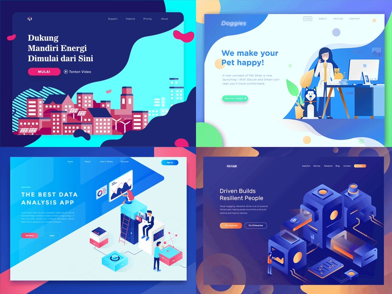 Top 4 shots from 2018 best 4 2018 dashboard website gradient flat analysis isometric ui illustration landing page gif animation
