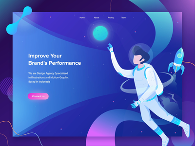 Improve Your Brand's Performance Animation Header astronaut gradient motion graphics performance improve brand illustration flat design after effects ui dashboard landing page animation