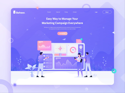 Beheer - Manage Your Marketing Campaign header web design design app campaign marketing manage illustration analysis gradient website ui animation landing page dashboard