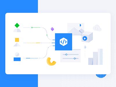 Facebook Pixel Data 🟦 icon blue illustration shape users data integration facebook ads