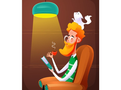 Reading Grand1 vector art coffee hobby read book illustration vector