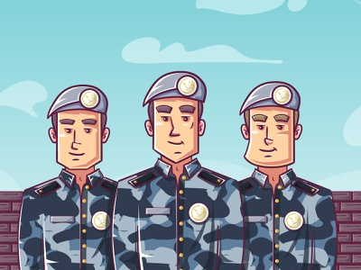 soldiers characters design flat animation vector illustration