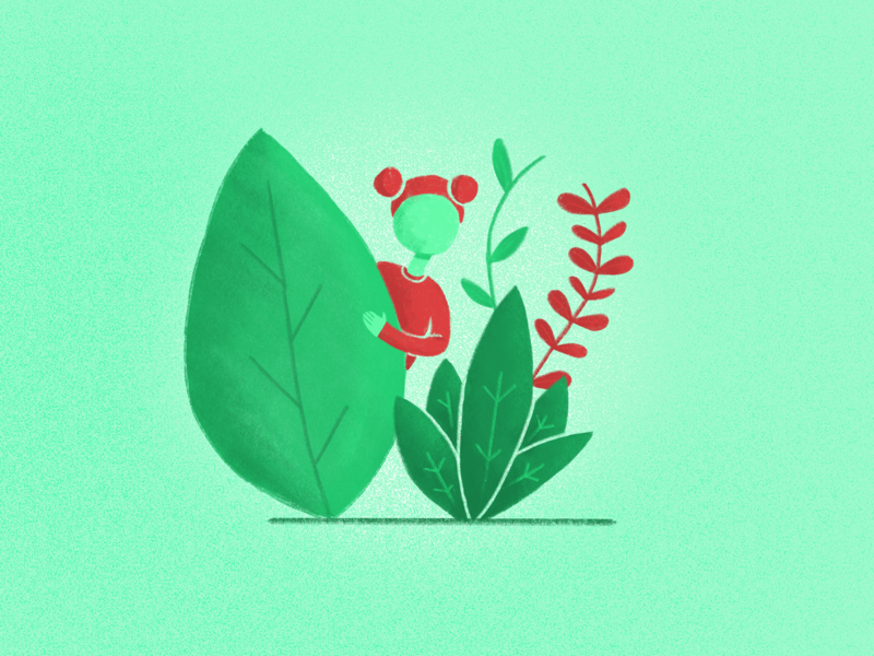 Child of the forest sketch procreate drawing red leaf green nature forest character design character