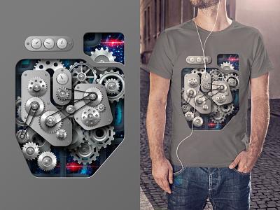 Mechanism gears mechanical mechanism t-shirt design illustration graphic design art direction
