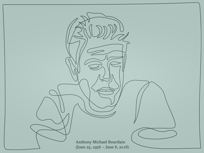 Anthony Bourdain, single line portrait one line portrait oneliners illustration face drawing continuous art bourdain anthony