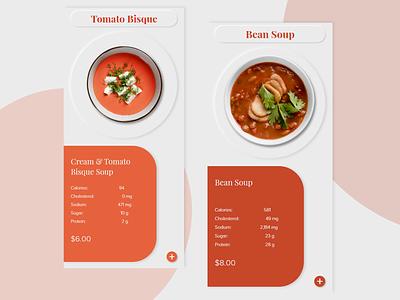 Soup - Mobile App imagery mobile ui application soup food and drink food app red menu card ordering realism typography flat mobile app design ux ui minimal