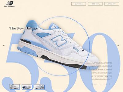 "The New Balance 550 ""Carolina Blue"" landing web colors ecommerce simple ui type graphic design figma north carolina unc sneakerhead sneaker shoes ux new balance branding typography minimal design ui"