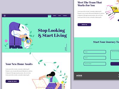 Real Estate Web Design typography website illustration illustrator minimal ux web app ui design