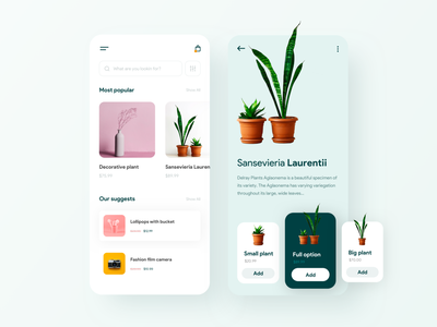 Decorative shop ui card design minimal app minimal store product page product green plant flower decore ecommerce app ecommerce shopping app shop decorative appui ui design app