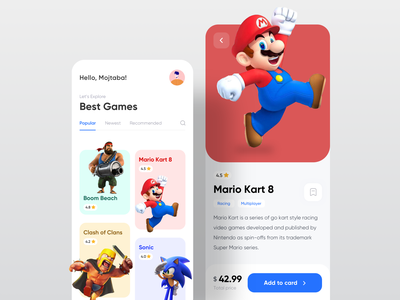 Game Store 3d art minimalist rating store app cards ui tab super mario clash of clans trendy clean ui gamer games store game app gamestore game app minimal ui design mobile