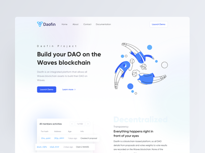 Daofin Landing page minimalist webdesign concept dribble trendy minimal illustraion gradient design gradient homepage landing page crypto wallet cryptocurrency crypto header hero landing page design landingpage web design ui design