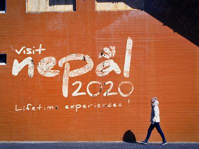 Visit Nepal 2020 Concept Logo icon abstract typography logo illustration vibrant minimal identity branding clean flat vector branding design