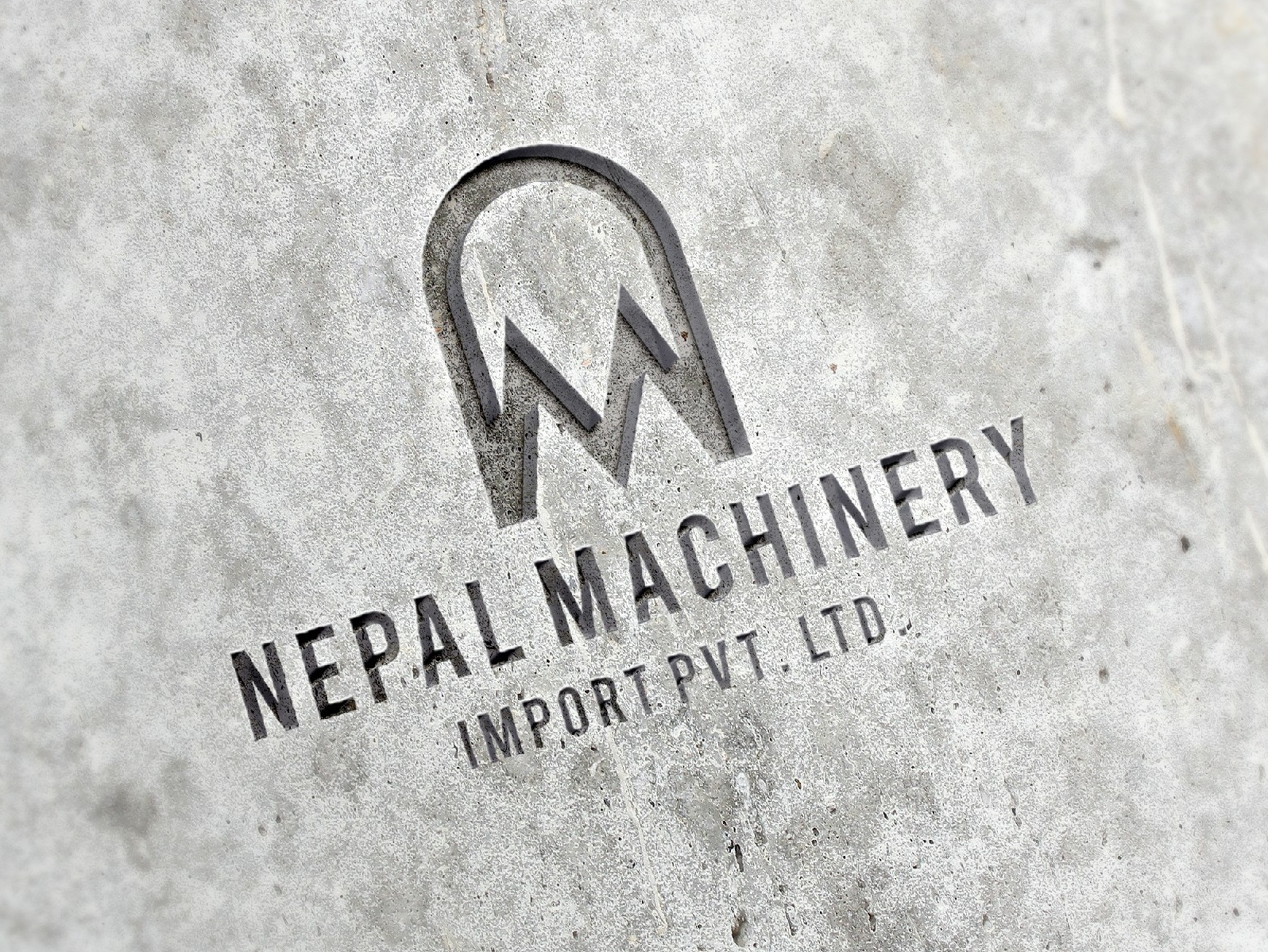 Nepal Machinery Imports Logo typography icon logo illustration identity branding minimal flat clean vector branding design