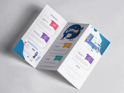Tech Company Brochure Design elegant typography icon colors vibrant illustration identity branding minimal branding flat clean vector design