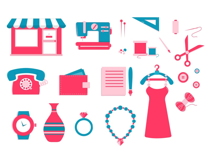 Jamjar handmade creation e-shop icons icons e-commerce flat shop scissors dress fashion illustration