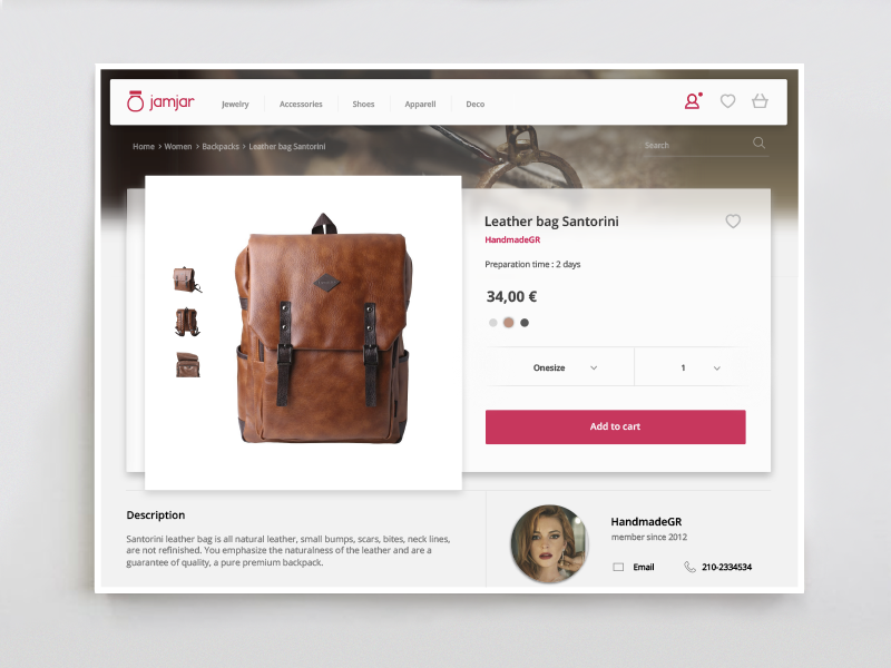 Product View of handmade goods ecommerce concept mockup material goods handmade ux ui website product