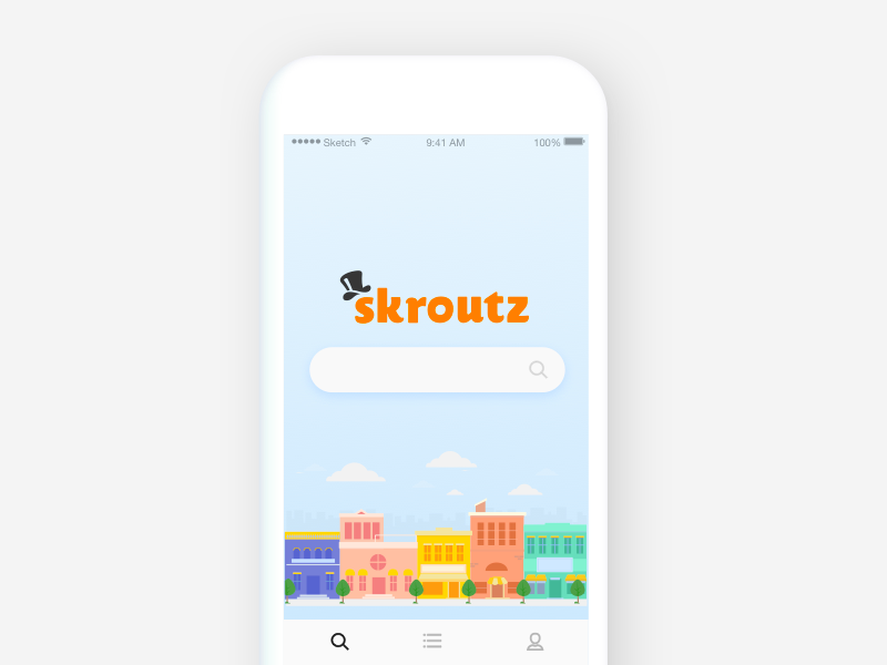 skroutz iOS app mockup 2d illustration ecommerce search ux ios comparison price skroutz ui app