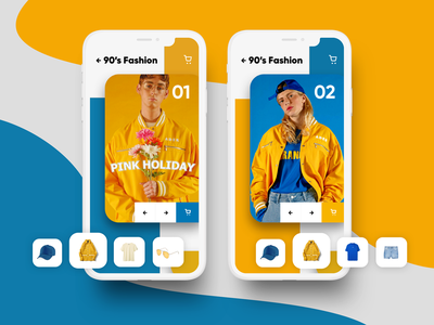 Fashion Concept - Buy the Look concept outfit 90s shop cart mobile fashion ecommerce app ui