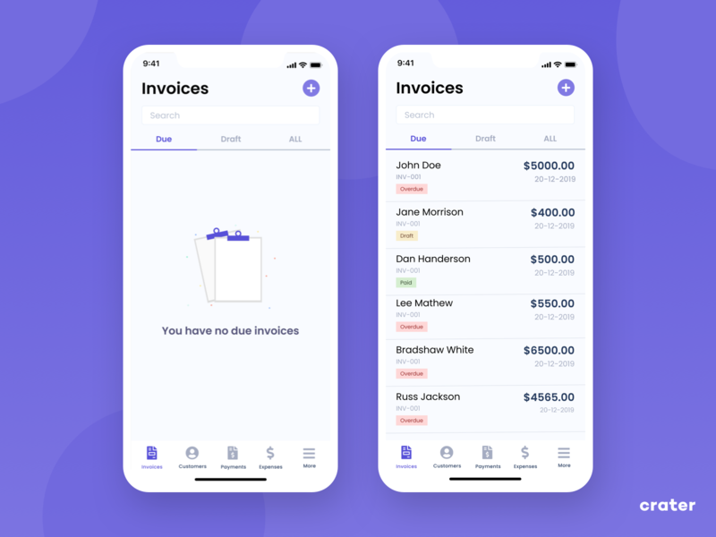 Crater Invoice UI [ React Native | Open Source ] ui dashboard app mobile invoice lists accounting crm portal ux dashboard free github open source