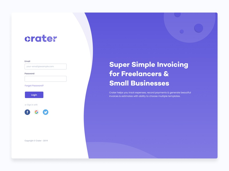 Crater Login Page - Invoice App ( Open Source ) dashboard app crm accounting onboarding uiux portal open source github free dashboard invoice ui ui design