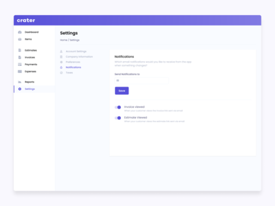 Settings page for Crater