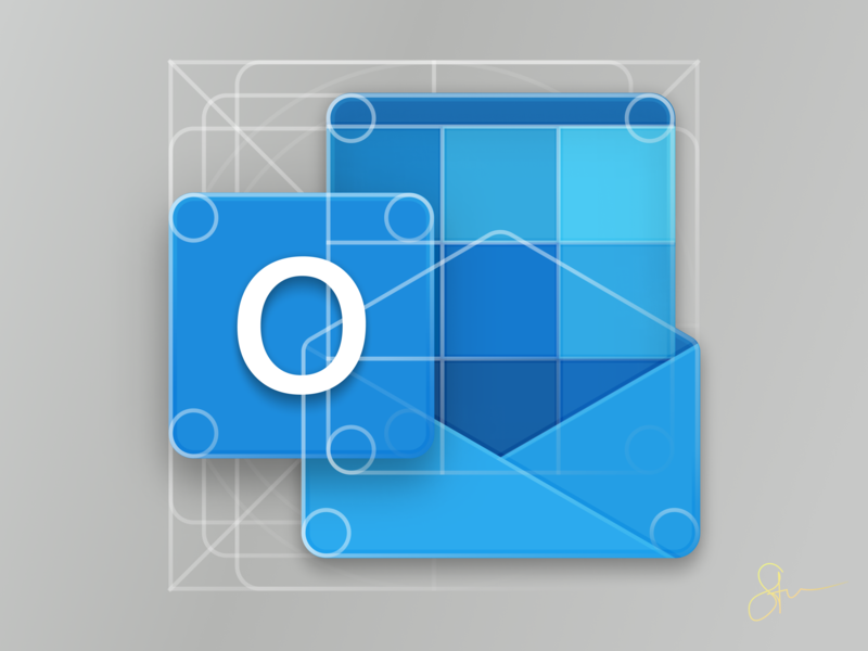 New Office Icons : Outlook Icon Closeup on Grid by Steven