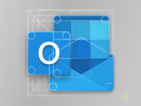 New Office Icons : Outlook Icon Closeup on Grid